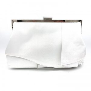 white satin bridal clutch