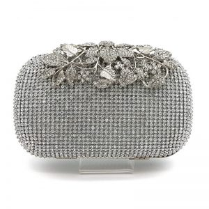 silver diamante clutch