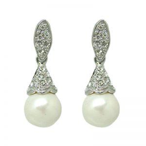 Pearl Earrings – Silver – ME005SCH