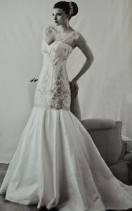 Silver French Chantilly Couture Bridal Gown