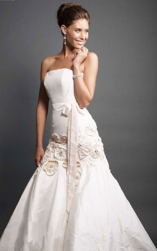 Strapless Floral Silk Couture Gown