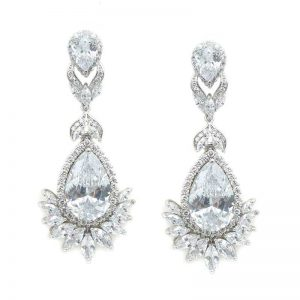 Large Drop Bridal Earrings – CHBAE0116