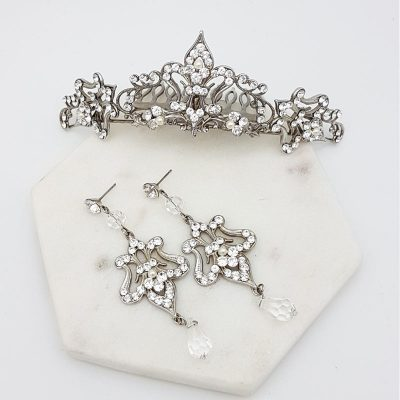 bridal tiara and earring set