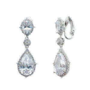 Silver Clip On Bridal Earrings - CHBAE0072