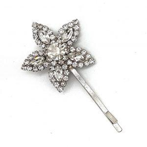 Silver Flower Diamante Hairpin – GL154wl
