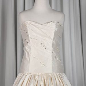 ivory silk beaded wedding gown