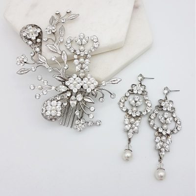 swarovski crystal and pearl hair comb and earring set