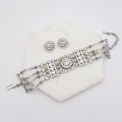 swarovski stud and bracelet jewellery set