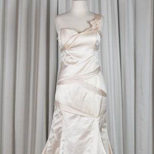 pink silk single strap wedding dress