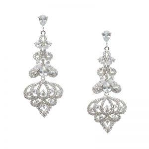 Rose Gold & Silver Chandelier Shaped Earrings – CHBAE0189