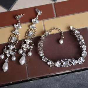 silver bracelet and earrings set