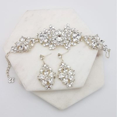 Swarovski crystal bridal bracelet and earring set