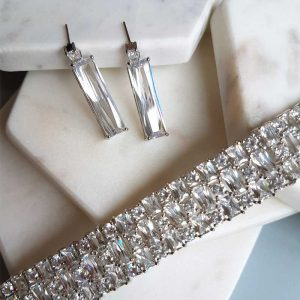 cubic zirconia cuff bracelet and earrings set - Georgie