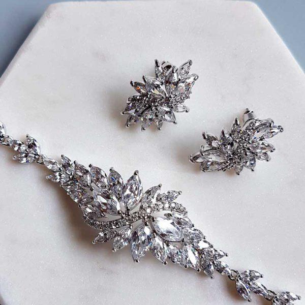 large stud earrings and bracelet set