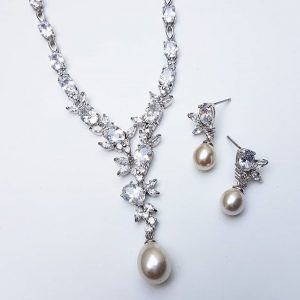 Pearl & CZ Drop Necklace & Earrings Set – Wendy