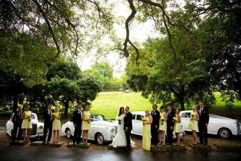 Glam Couture lemon bridal party