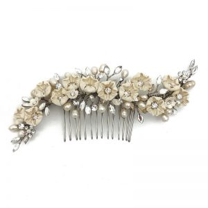 large floral vintage hair comb