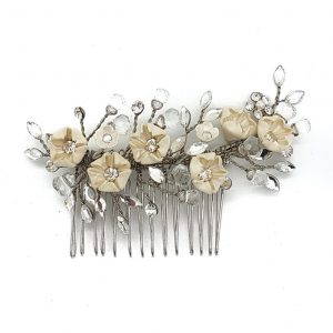 small floral and crystal bridal comb