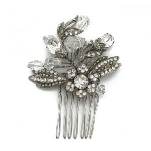 Silver crystal vintage hair comb