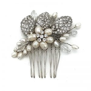 pearl and crystal vintage hair comb