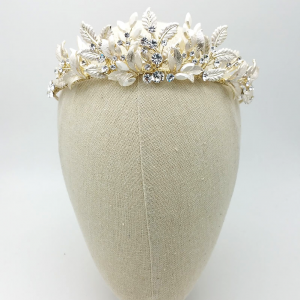 'Bailey' Soft Gold Leaf & Crystal Tiara