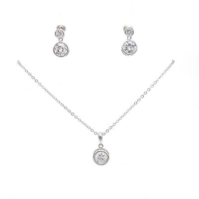 silver drop necklace earring set