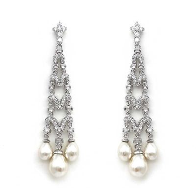 elegant pearl chandelier earrings
