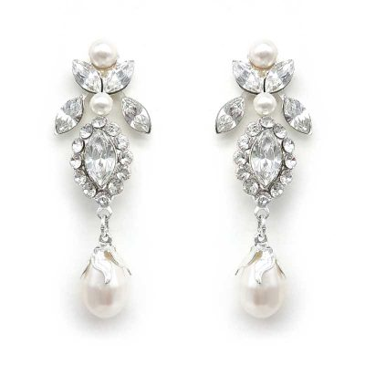 silver crystal and pearl drop earrings