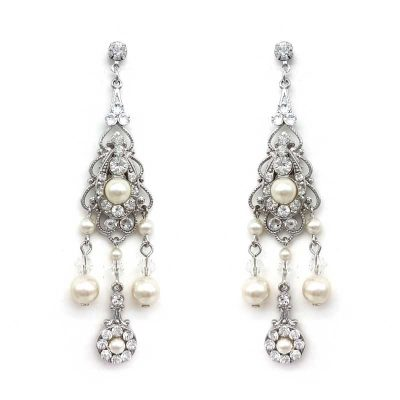 large chandelier crystal and pearl earrings