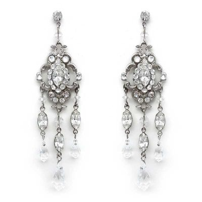 silver swarovski crystal earrings