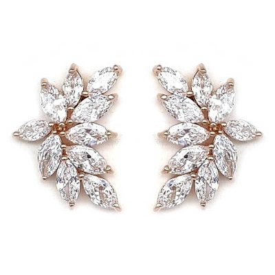 rose gold bridal studs