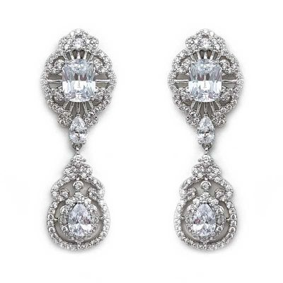 Silver CZ bridal drop earrings
