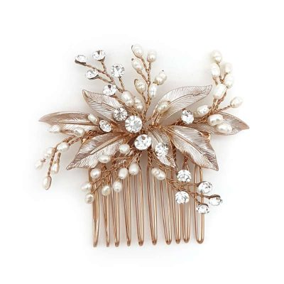 rose gold pearl hair comb