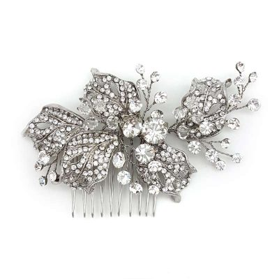silver diamante hair comb