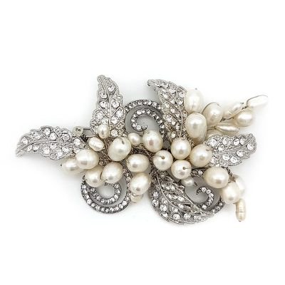 fresh water pearl and crystal bridal brooch