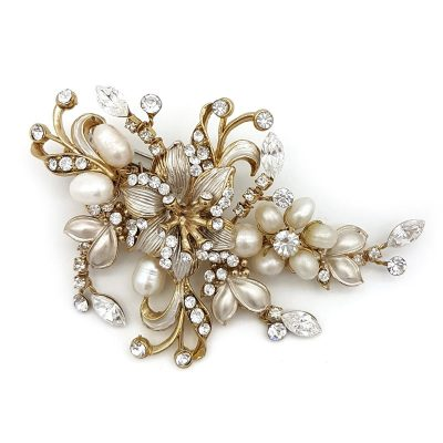gold pearl floral brooch
