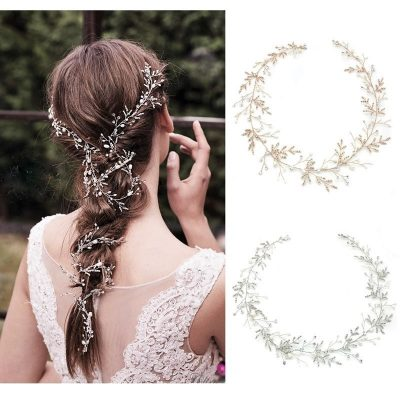 silver and rose gold bridal hair vine