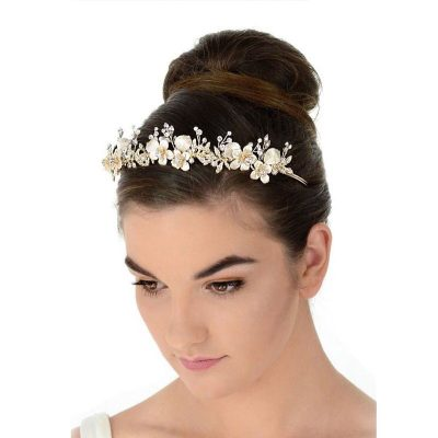 gold floral pearl and crystal bridal crown or headband
