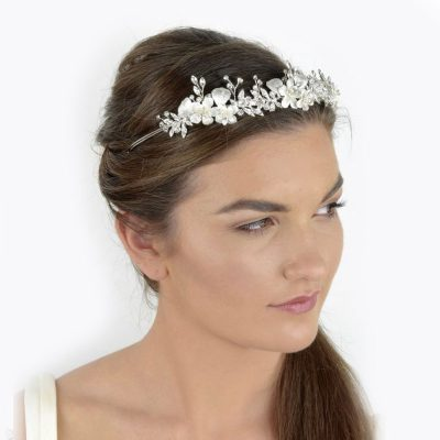 silver floral and crystal bridal crown and headband