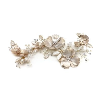 gold flower hair piece with pearl and crystal