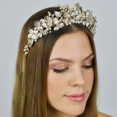 gold crystal floral bridal crown
