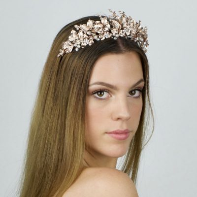 rose gold pearl and crystal bridal crown