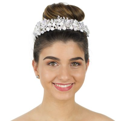 silver floral pearl and crystal bridal crown